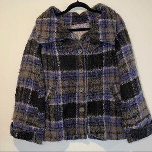 Free People Wool Blend Plaid Coat